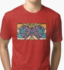 Tiffany Stained Glass Butterfly Tri-blend T-Shirt