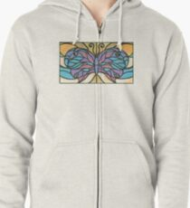 Tiffany Stained Glass Butterfly Zipped Hoodie