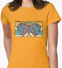 Tiffany Stained Glass Butterfly Fitted T-Shirt