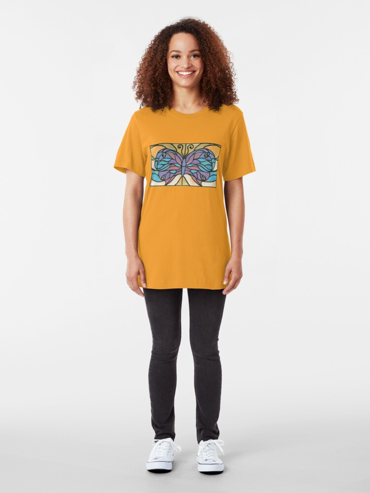Alternate view of Tiffany Stained Glass Butterfly Slim Fit T-Shirt