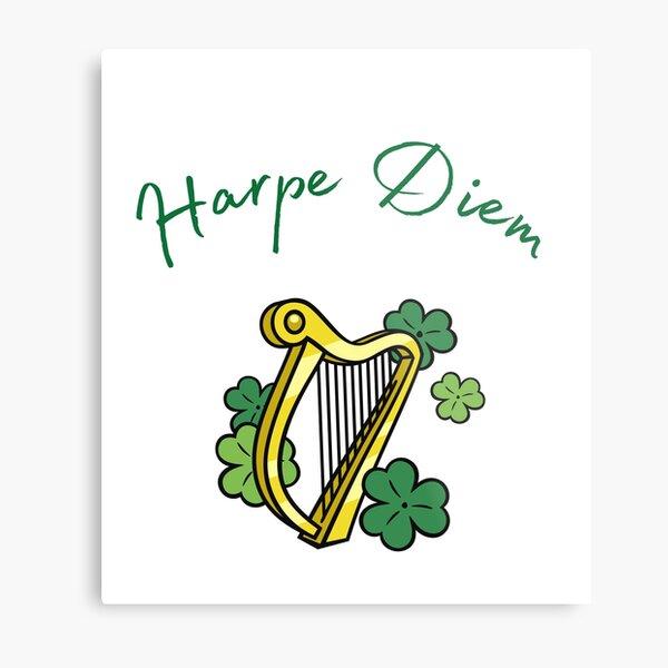 Harpe Diem pun, gift for harpist or harp teacher Metal Print