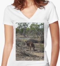 Kangaroo, Meanwhile At The Billabong, Women's Fitted V-Neck T-Shirt