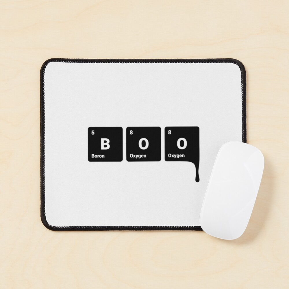 BOO! Scary Halloween Periodic Table Elements Boron Oxygen (Inverted) Mouse Pad