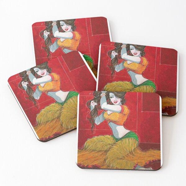 Beautiful Indian Woman Artwork BabyBee Coasters (Set of 4)