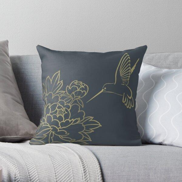 Hummingbird and Peonies Throw Pillow