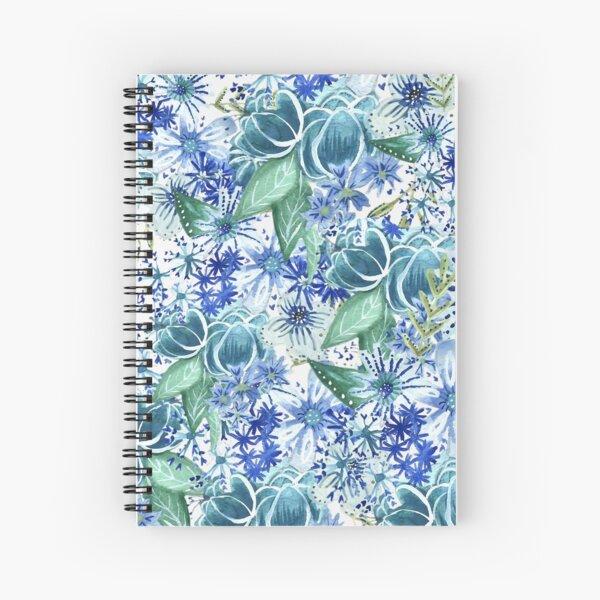 Handpainted Florals in Blue Spiral Notebook