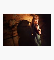 Creative portrait of young woman near wall Photographic Print