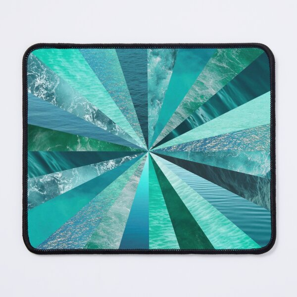 Spiral Ocean Waves Digital Art Turquoise Mouse Pad