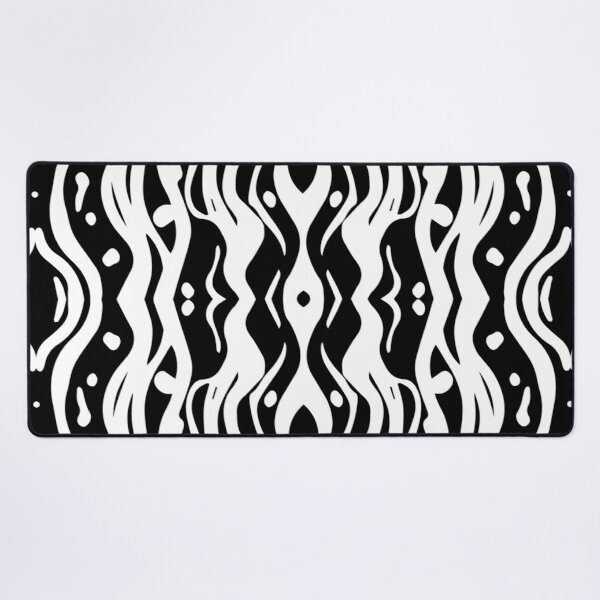 Wavey Abstract Lines Pattern Black on White Desk Mat