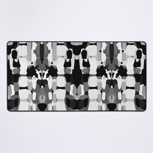 Aztec Abstract Pattern Black and White Desk Mat