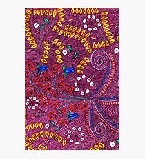 Nature In Chaos Pattern, Flower And Leaf Doodle Photographic Print