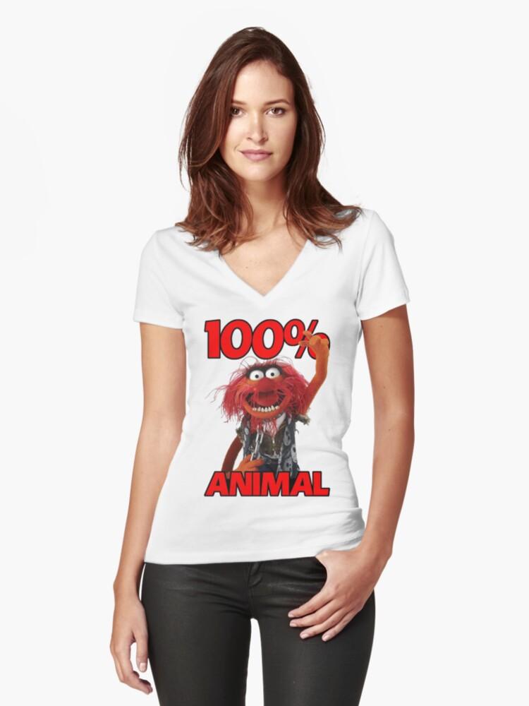Muppets 100 Animal oder Geburtstagsgeschenk Women's Fitted V-Neck T-Shirt Front