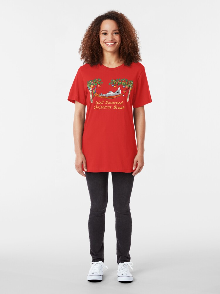 Alternate view of Koala Relaxing on its Hammock on a Well Deserved Christmas Break Slim Fit T-Shirt