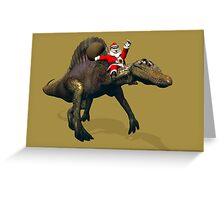 Santa Claus Riding A Spinosaurus Greeting Card