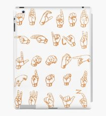 ASL Alphabet in Gold Paint Texture iPad Case/Skin