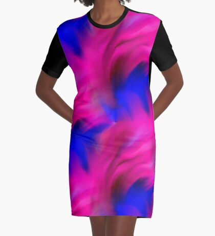 Hot Pink And Blue Abstract Strokes Graphic T-Shirt Dress