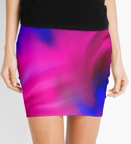 Hot Pink And Blue Abstract Strokes Mini Skirt