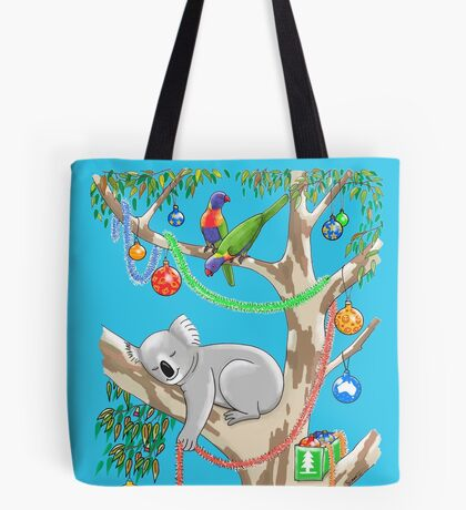 Sleepy Christmas Koala and Lorikeets Tote Bag