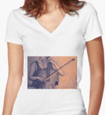 Cello player drawing. Women's Fitted V-Neck T-Shirt
