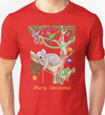 Sleepy Christmas Koala and Lorikeets Unisex T-Shirt
