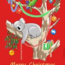 Sleepy Christmas Koala and Lorikeets by JumpingKangaroo