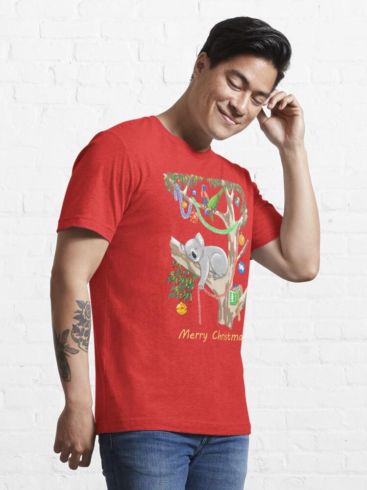 Alternate view of Sleepy Christmas Koala and Lorikeets Essential T-Shirt