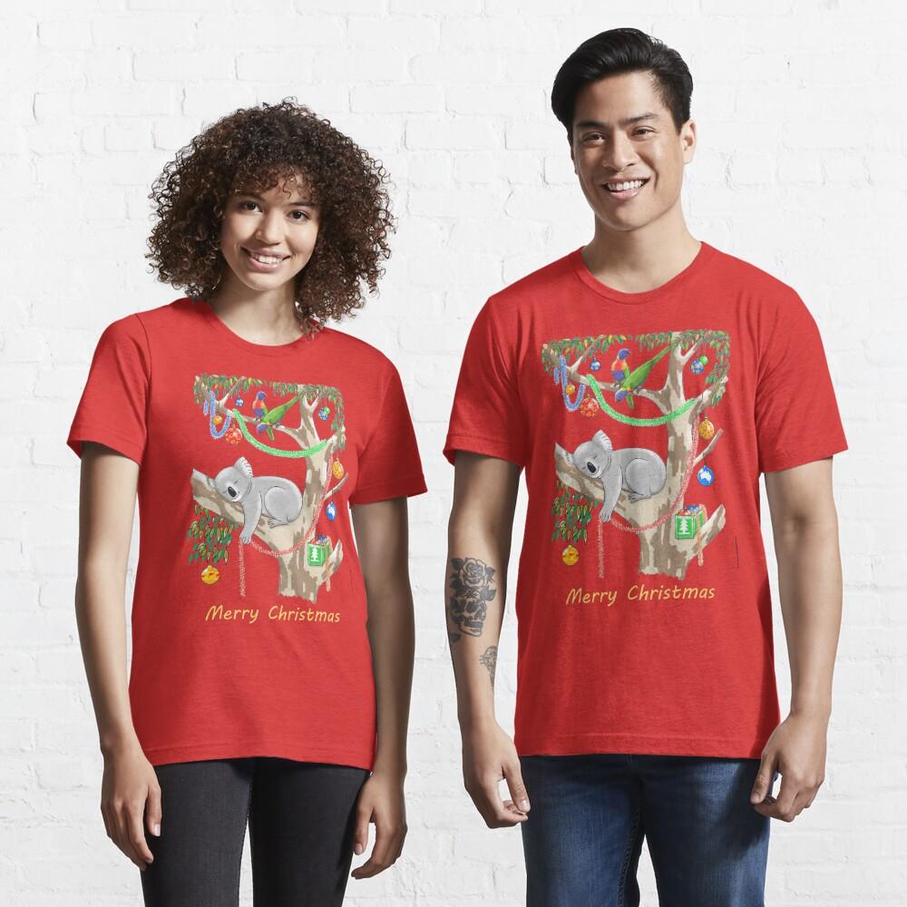 Sleepy Christmas Koala and Lorikeets Essential T-Shirt