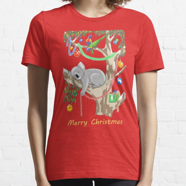 Sleepy Christmas Koala and Lorikeets Essential T-Shirt