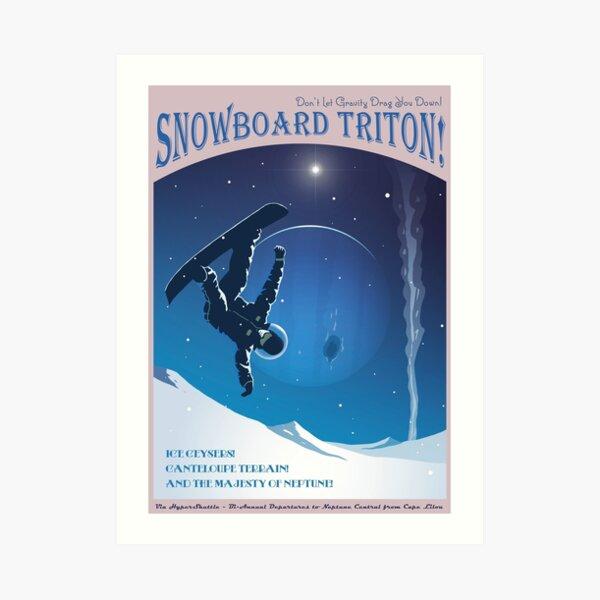 Space Travel Poster - Snowboard Triton! Art Print