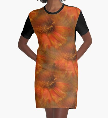 Abstract Orange Daisy Flower Pattern Graphic T-Shirt Dress