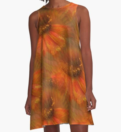 Abstract Orange Daisy Flower Pattern A-Line Dress