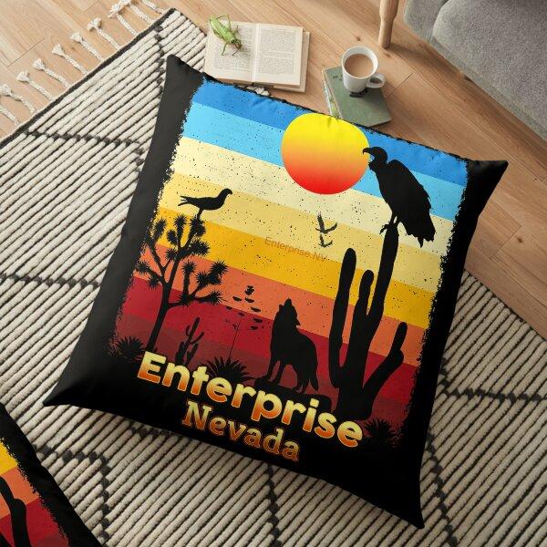 Enterprise Nevada NV  Cactus Vulture Coyote Sunset Retro Desert Floor Pillow
