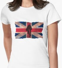 Cycling Sprinter on UK Flag Women's Fitted T-Shirt