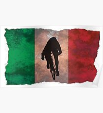 Cycling Sprinter on Italian Flag Poster