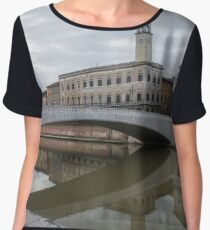Architecture of Pisa city with traditional narrow streets, Italy Women's Chiffon Top