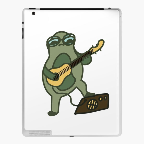 Kawaii frog with glasses playing guitar iPad Skin