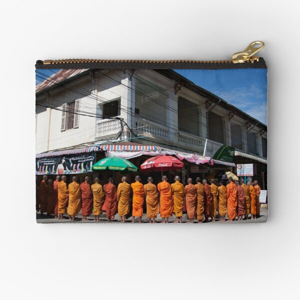 Monks collecting Alms  Zipper Pouch
