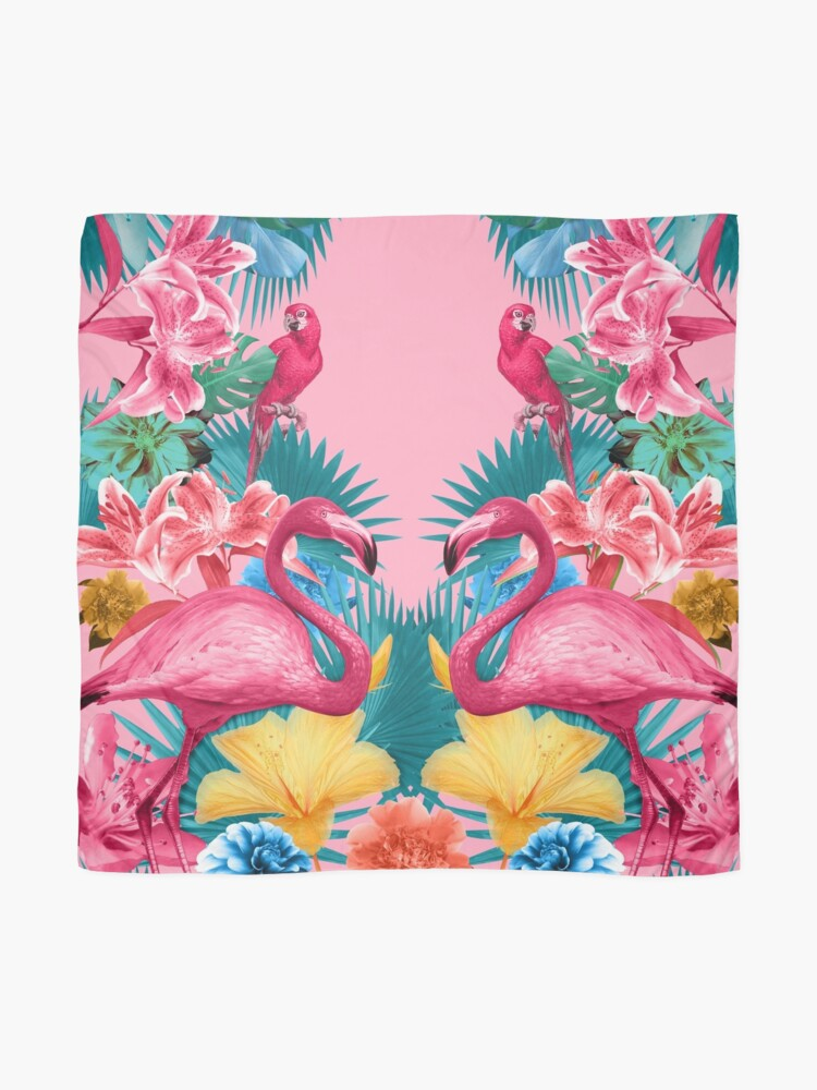Alternate view of Flamingo and Tropical garden Scarf
