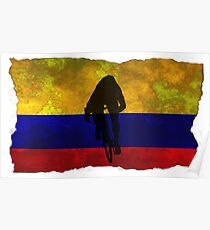 Cycling Sprinter on Columbian Flag Poster