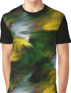 Abstract Yellow Green And White Colors Graphic T-Shirt