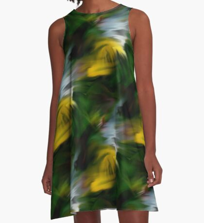 Abstract Yellow Green And White Colors A-Line Dress
