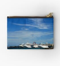 Cruise Ships, Nassau Harbour, Nassau, Bahamas Studio Pouch