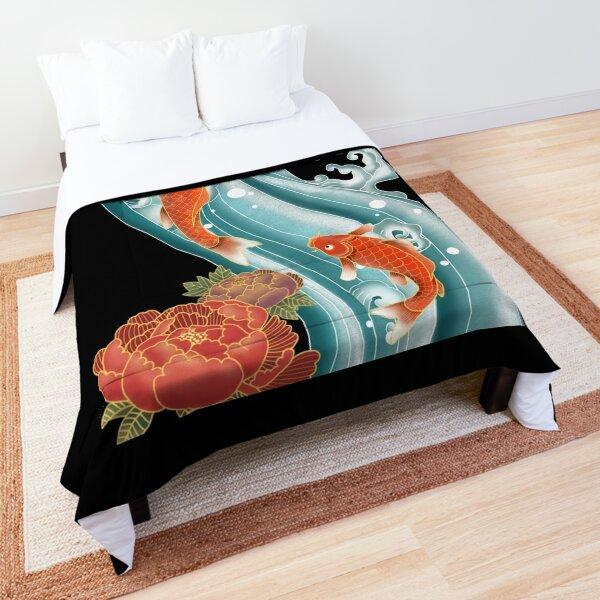 Koi Fish Carp Swimming Peony Flower Chinese Japanese Art Comforter
