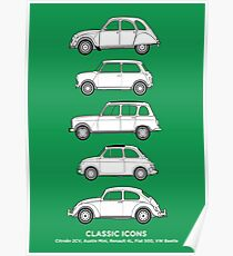 Classic Icons. Classic Cars Artwork. 2CV, Mini, R4, Fiat 500 & Beetle Poster