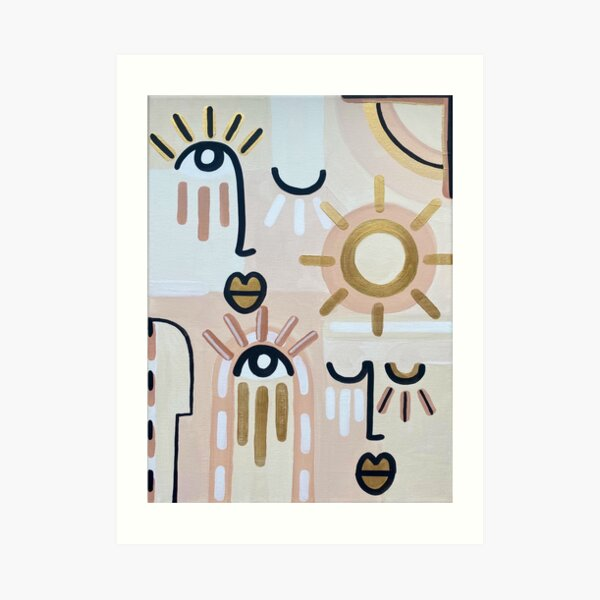 Abstract faces artwork for an original gift rose gold Art Print