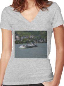 Barge Atlas Off Oberwesel Women's Fitted V-Neck T-Shirt