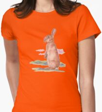 Watercolor Bunny Women's Fitted T-Shirt