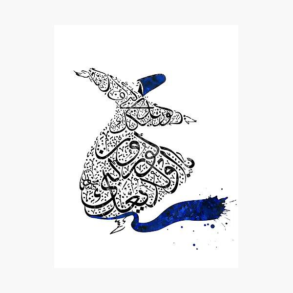 Rumi Calligraphy Blue Photographic Print