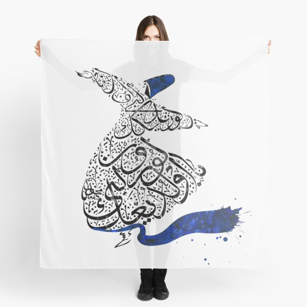 Rumi Calligraphy Blue Scarf