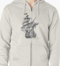 Pirate ship Zipped Hoodie